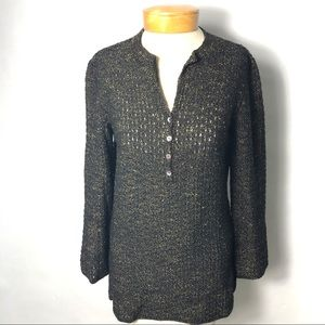 Peruvian Connection Sweater Henley Tunic S
